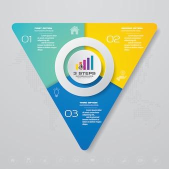 3 etapas processam infográficos elemento gráfico.