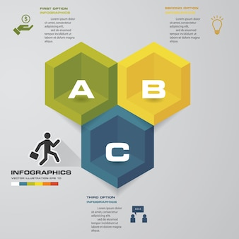 3 etapas processam o elemento de infográficos para apresentação.