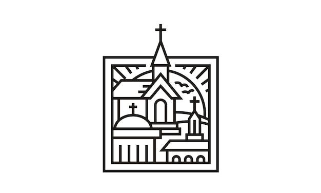 3 igrejas em design de logotipo de quadro