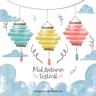 3 lanternas coloridas, festival do meio do outono