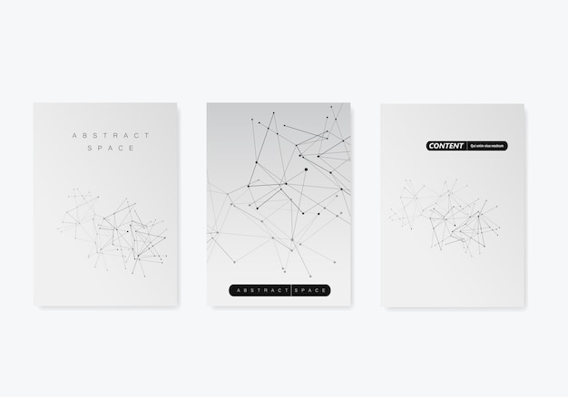 3 modelos de capa para brochura em tamanho a4 fundo geométrico moderno com linhas e pontos conectados