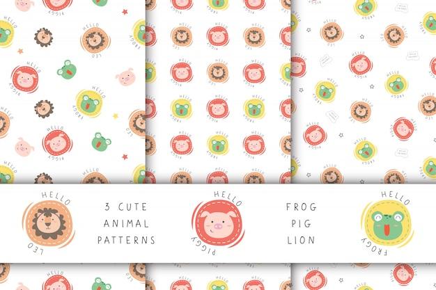 3 padrão de costura com animais fofos