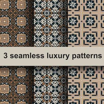 3 padrões de luxo sem costura.