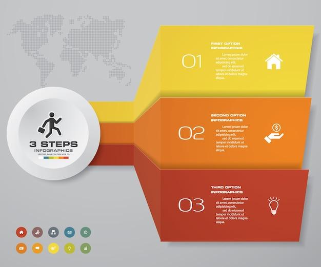 3 passos infográficos elemento seta modelo gráfico