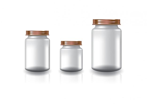 3 tamanhos de frasco redondo transparente em branco com tampa de rosca de cobre.