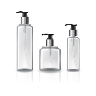3 tamanhos de garrafa cosmética quadrada