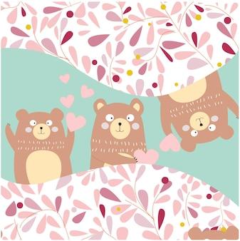 3 ursinhos de pelúcia bobos pegando uma boo, para cartão de aniversário