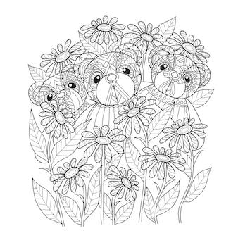 3 ursos de pelúcia e flor em estilo zentangle