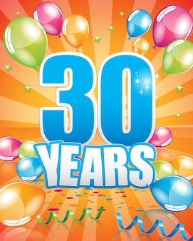 30 anos de cartão de aniversário
