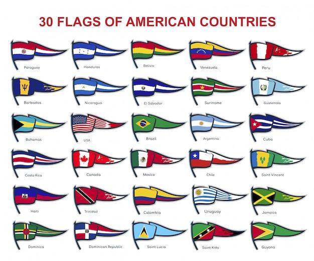 30 bandeiras de países americanos