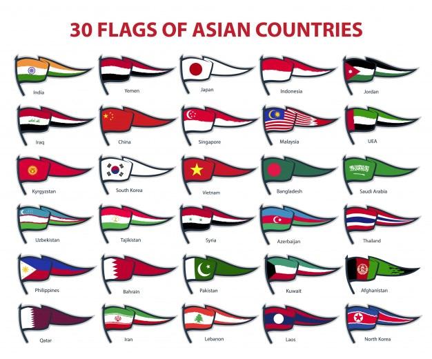 30 bandeiras de países asiáticos