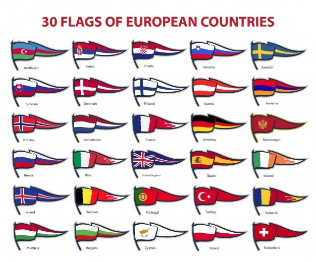 30 bandeiras de países europeus