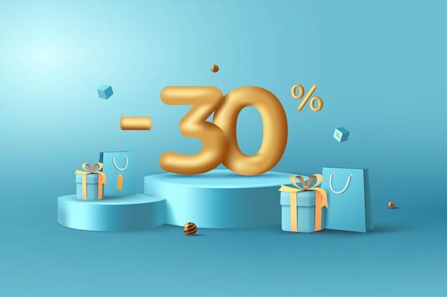 30% de desconto em números de desconto em ouro 3d no pódio com sacola de compras e caixa de presente
