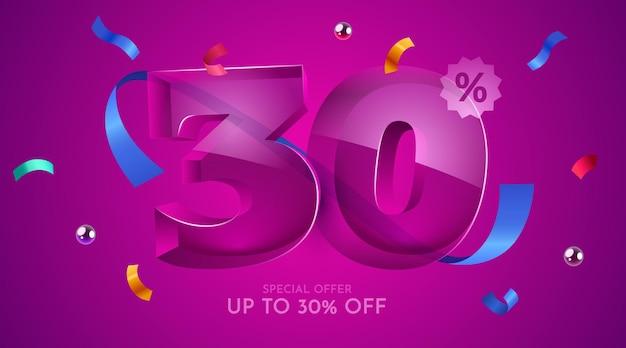 30% de desconto na composição criativa símbolo da mega venda