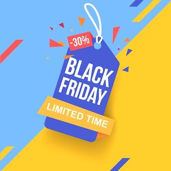 30% de desconto no preço. bandeira preta amarela roxa de venda sexta-feira.