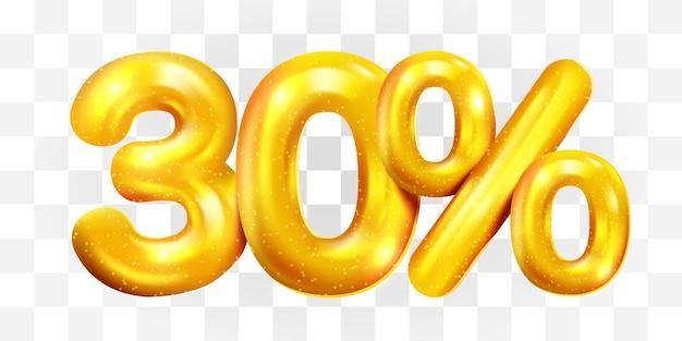30% de desconto no símbolo da mega venda do balão dourado