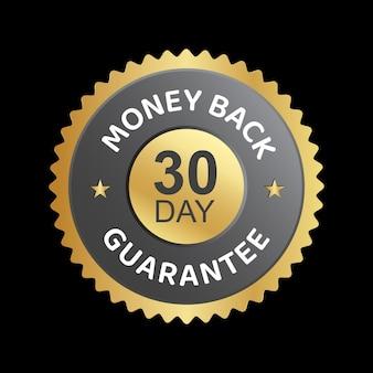 30 dias dinheiro de volta com garantia de confiança em crachá