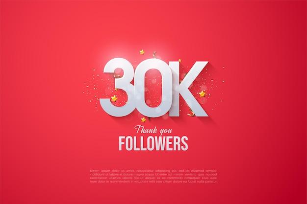 30 mil seguidores em segundo plano com números sobrepostos.