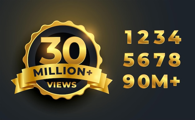 30 milhões ou 30 milhões de visualizações comemorando o design do rótulo dourado