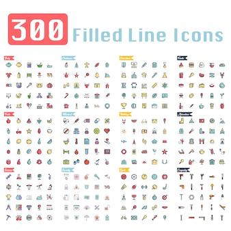 300 ícones de contorno preenchido