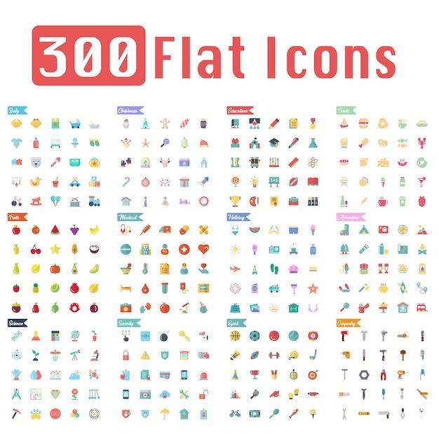 300 ícones planas vector