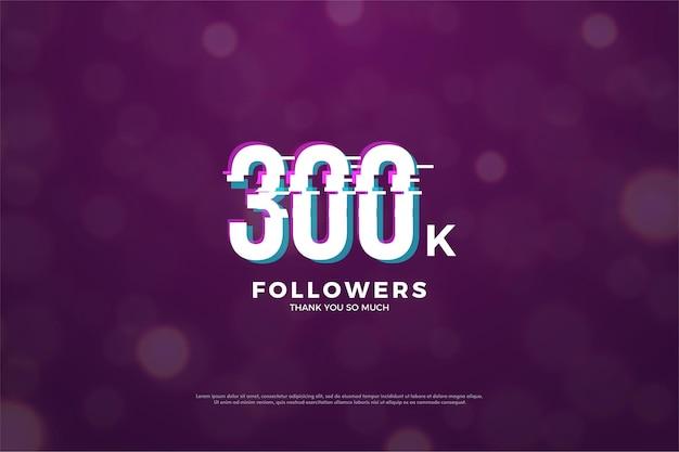 300 mil seguidores com efeito de corte de números em paz