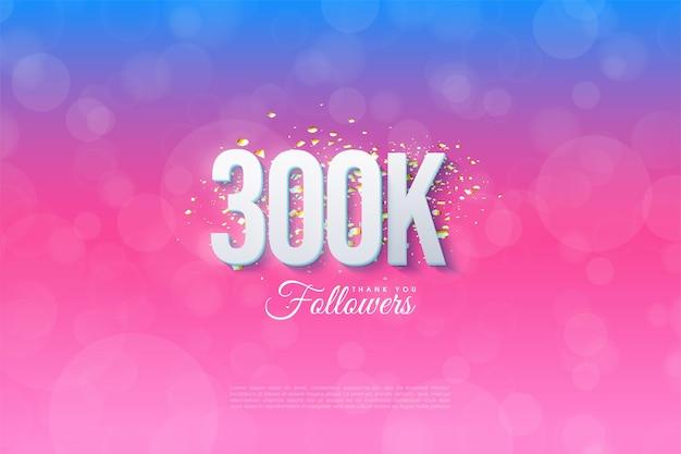 300 mil seguidores com números e planos de fundo classificados de azul a rosa