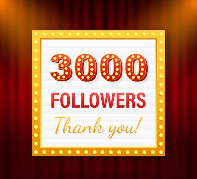 3000 seguidores, obrigado, postagens em sites sociais. obrigado cartão de felicitações de seguidores. ilustração em vetor das ações.