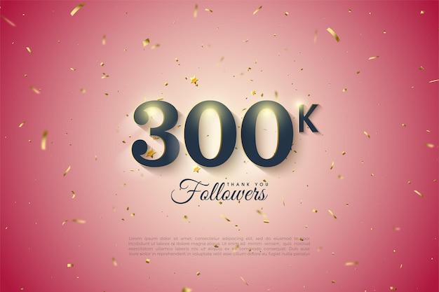 300k seguidores com sombras numéricas brancas suaves.