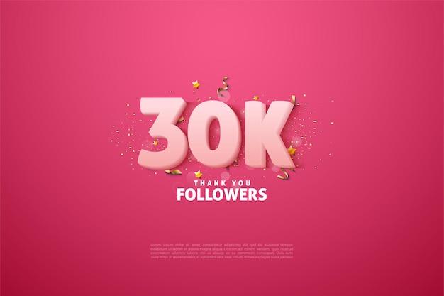 30k seguidores de fundo com números brancos leitosos macios.