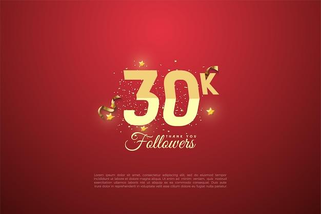 30k seguidores de fundo com números classificados no fundo vermelho ligeiramente vinheta.