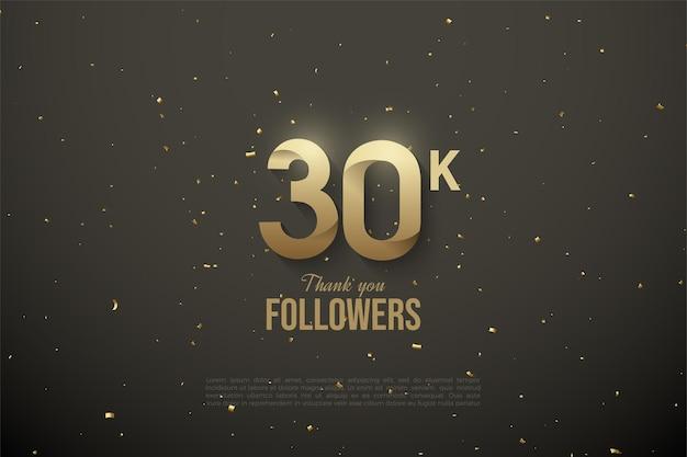 30k seguidores de fundo com números lado a lado com estrelas.