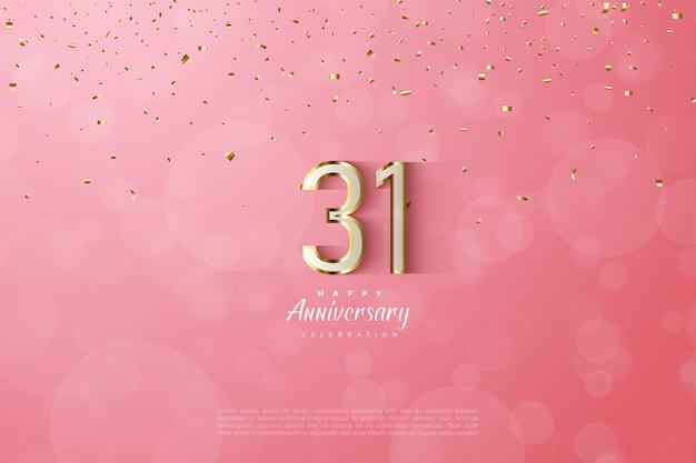 31º aniversário com luxuosos algarismos dourados