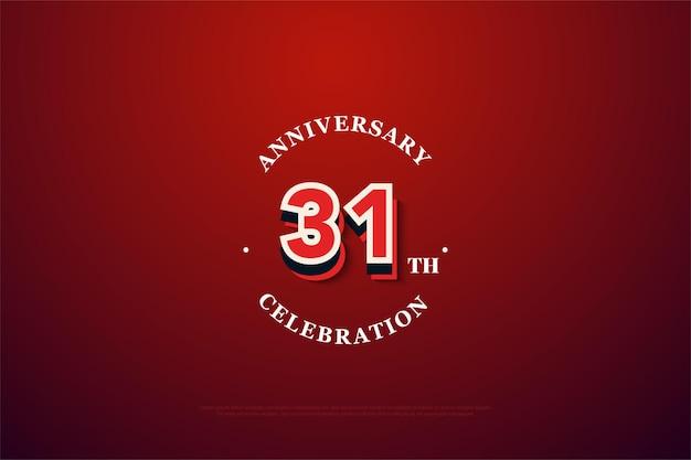 31º aniversário com números em relevo