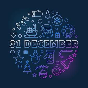 31 de dezembro conceito contorno colorido ilustração