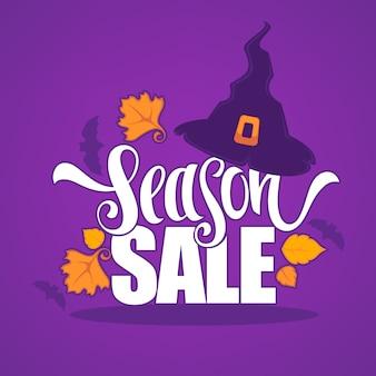 31 de outubro, banner de venda de halloween com folhas de outono de chapéu de bruxa e composição de letras