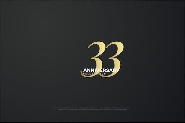 33º aniversário com design plano