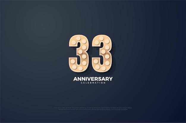 33º aniversário com números texturizados