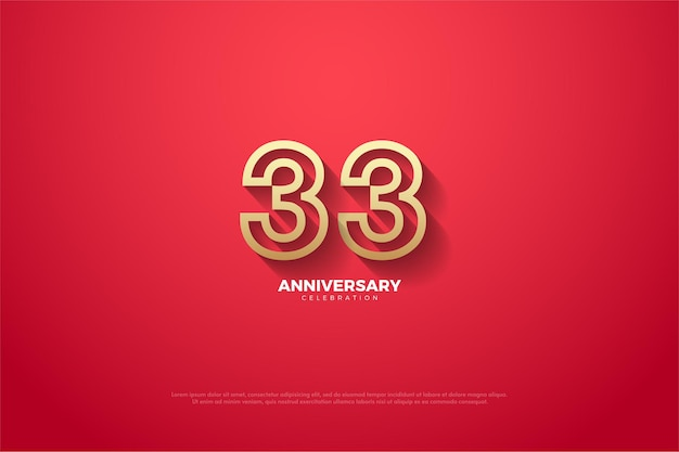 33º aniversário usando um design numeral moderno
