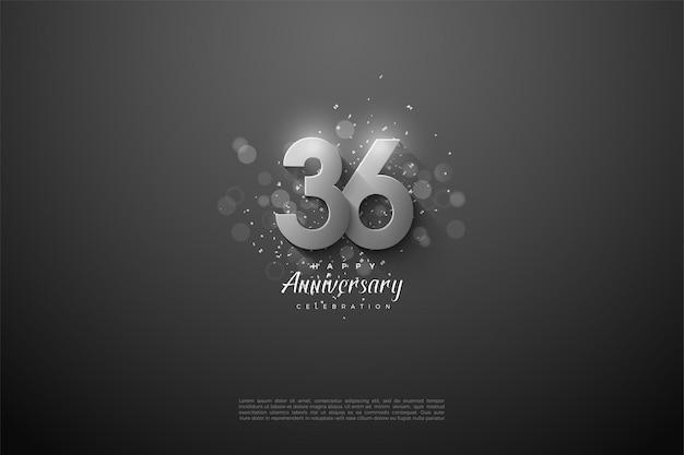 36º aniversário com números de prata