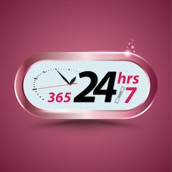 365 24hrs / 7 atendimento ao cliente aberto com relógio