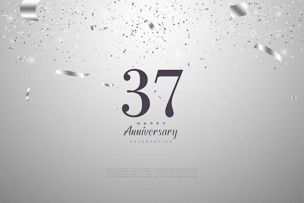 37º aniversário com números e fita prateada