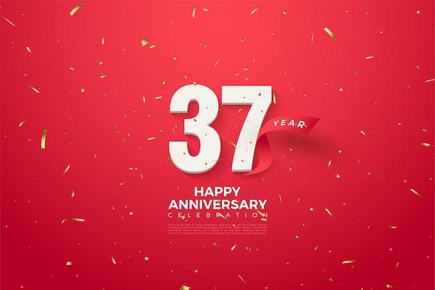 37º aniversário com números e fita vermelha