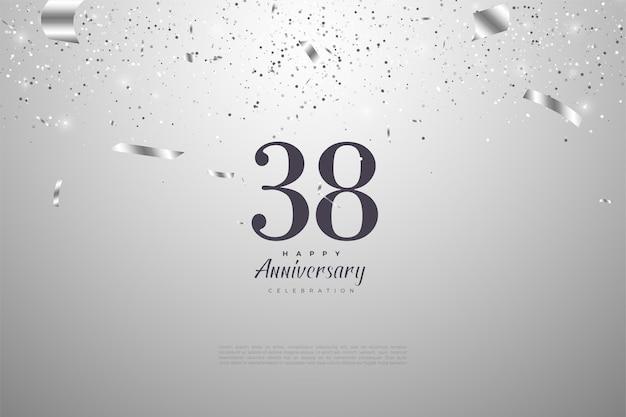 38º aniversário com números e fita de prata