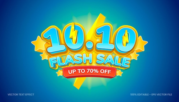 3d 10 10 flash sale com tema de cores amarelo e azul.