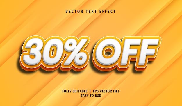 3d 30% de desconto no efeito de texto, estilo de texto editável