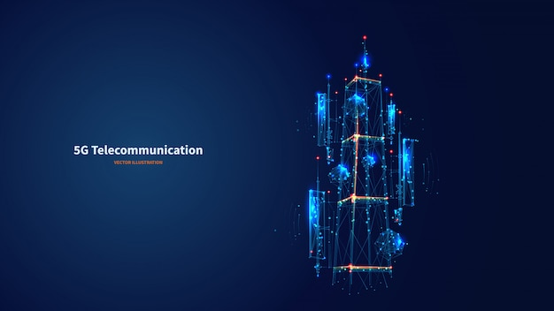 3d abstrato azul isolou a antena 5g no fundo da tecnologia da inovação. vetor digital de baixa estrutura de arame poli. polígonos e pontos conectados. conceito futurista de torre de telecomunicações de internet.