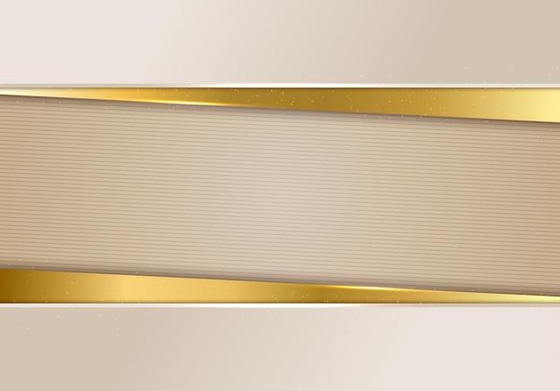3d abstrato bege e ouro brilhante cor listras papel corte estilo modelo de fundo de luxo. ilustração vetorial