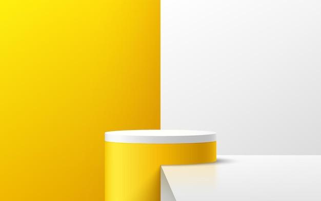 3d abstrato branco e amarelo cilindro plataforma pódio cenário de parede mínima amarelo e branco brilhante