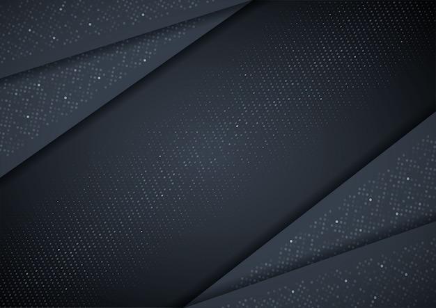 3d abstrato com camadas de papel preto